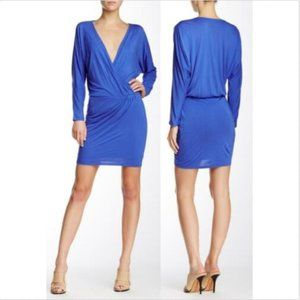 Haute Hippie Cobalt Blue Draped Mini Dress M